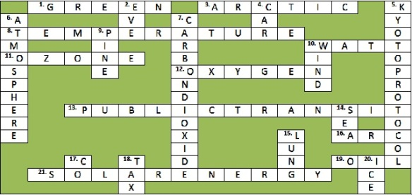 Answers to the Green Crossword