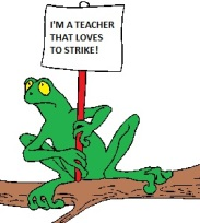 Frog holding teacher strike sign 2