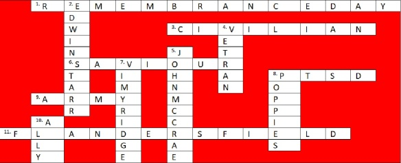 Remembrance Day Crossword Answers