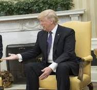 Donald Trump offering hand